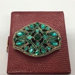 Monet Green Stone Brooch